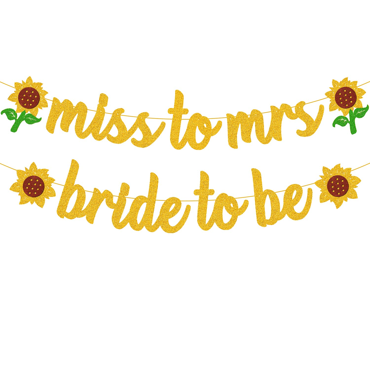 Sunflower Bridal Shower Decorations Bride-to-be Banner Miss-to-mrs Garland for Wedding Engagement Bachelorette Hen Party Supplies Glitter Décor