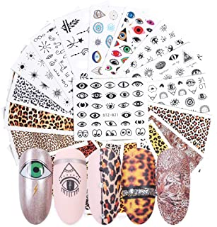 Macute Nail Water Decals for Women Nails Art Supply Stickers 19 Sheets Fresh Nail Art Accessories Stickers Leopard Eye Design Water Transfer Nail Decorations Fingernails Toenails Manicure Tips Decor