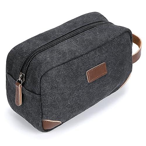 IGNPION Travel Cosmetic Wash Bag Unisex Toiletry Bag Vintage PU Canvas Compact Travel Make up Shaving Dopp Kit with Handle (Black)