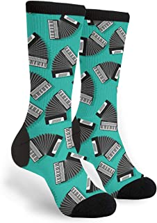 Accordion Instrument Unisex Adult Fun Cool 3D Print Colorful Athletic Sport Novelty Crew Tube Socks