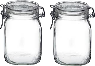 Bormioli Rocco Fido Italian Clear Glass Canning Jar with 85 mm Gasket, 1 Liter (Pack of 2)
