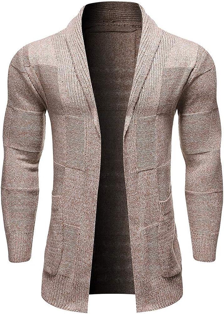 JMSUN New Man Solid Color Pocket Decoration Long-Sleeved Men Cardigan