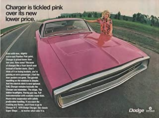"""Magazine Print Ad: 1970 Dodge Charger, Panther Pink Paint,""""Charger is Tickled Pink Over it Lower Price"""""""