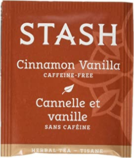 Stash Tea Cinnamon Vanilla Herbal Tea 100 Count Tea Bags in Foil (packaging may vary) Individual Herbal Tea Bags for Use in Teapots Mugs or Cups, Brew Hot Tea or Iced Tea