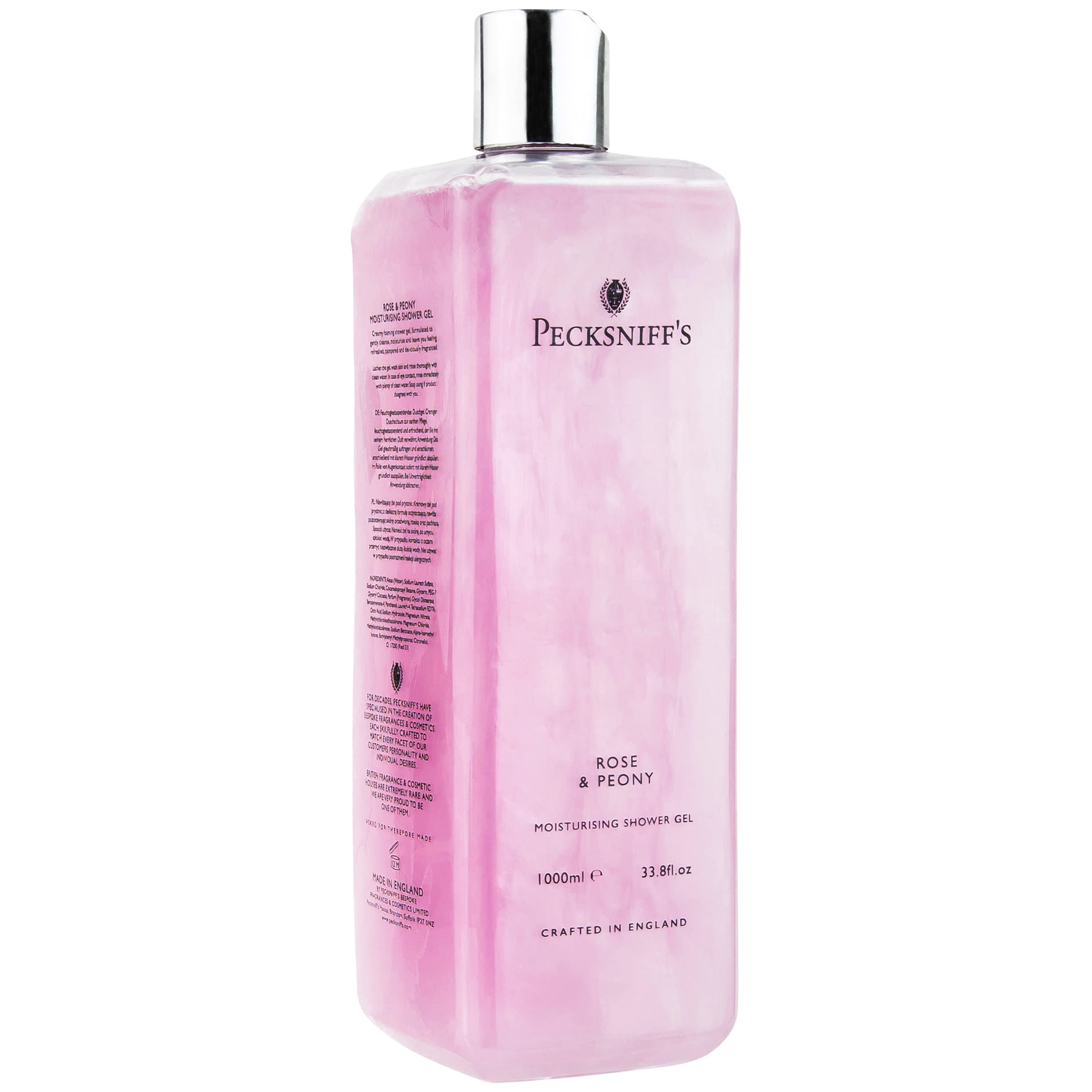 33.8 Fluid Oz Shower Gel (Rose & Peony) - Gentle Cleanser for Sensitive Skin - Moisturizing & Hydrating - All Natural Cruelty Free Body Wash - Vitamin B Enriched Body Wash - Pecksniff's