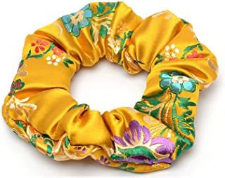 OULN1Y Cintas de pelo 2019 New Flower Embroidered Satin Silk Brocade Scrunchies Lady Hair Accessories Hair Ties for Women Fashion Accessories,Gold