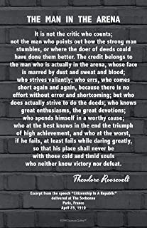 Words of Wisdom by Theodore Roosevelt - The Man in The Arena 11x17 Black Brick in The Wall Design Motivational Photo Art