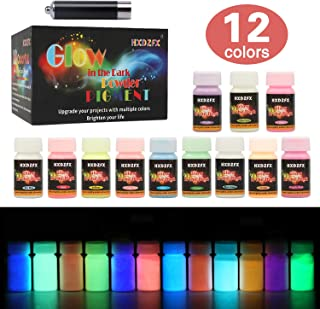 HXDZFX Glow in The Dark Pigment Powder Luminous Powder(Set of 12 Bottles 0.53oz Each) Safe Non-Toxic,for Slime,Nails,Epoxy Resin,Acrylic Paint,Halloween,Fine Art and DIY Crafts