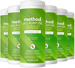 Method All-Purpose Cleaning Wipes, Lime + Sea Salt, 6.1 Ounces, 30 Count (Pack of 6)