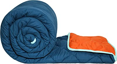 Divine Casa Sofitel Solid Polyester Double Comforter - Vermillion Orange and Insignia Blue (200 GSM)