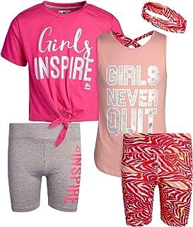 RBX Girls' Bike Shorts Set - Short Sleeve T-Shirt and Yoga Gym Shorts (4 Piece)