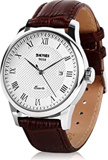 Mens Leather Band Quartz Watch, Men's Analog Business Working Roman Numeral Casual Waterproof Watches with Calendar Date Daily Dress Fashion Wristwatch - Brown