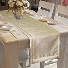 "Lushomes Gold Jacquard Design 1 Table Runner Polyester Border (Size: 16""x72""), Single Piece"