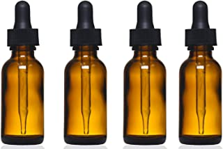 Amber Glass Bottles with Eye Droppers (2 oz, 4 pk) For Essential Oils, Colognes & Perfumes, Highest Quality, Blank Labels Included