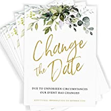 25 Change The Date Cards, Eucalyptus Greenery Theme, Event Postponed, Announcement Card, Update, Cancelled, Expo, Gatherin...