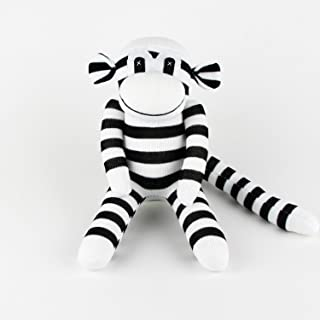 SuperSockMonkeys Handmade Black Striped White Traditional Sock Monkey Doll Baby Gift Toy