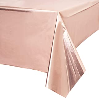 Blue Panda Rose Gold Plastic Rectangle Party Table Cloth Cover (3 Pack)