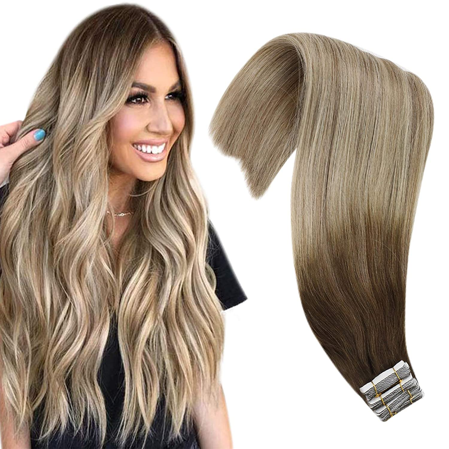 VeSunny Balayage Hair Extensions New life Tape Max 85% OFF in Platinum Ombre Bl Browm
