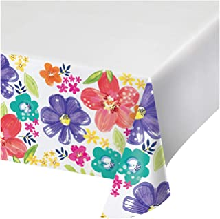 """Creative Converting Spring Floral Paper Tablecloth, 54"""" x 102"""", Purple, Yellow, Pink, and Blue"""
