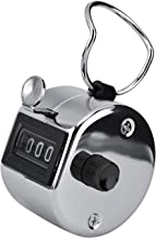 Xbes Metal Hand Tally Counter Mechanical Palm Number Clicker with Finger Ring, 4-Digit , Disc Golf/Baseball Pitch /Bus Driver/Fish/Crochet Row Count (Silver)