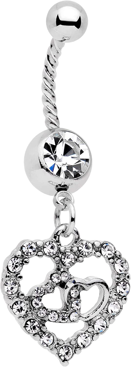 Body Candy 14G Womens 316L Steel Navel Ring Piercing Valentine Heart Twisted Dangle Belly Button Ring 7/16