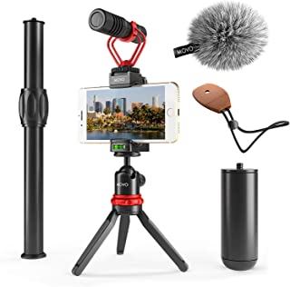 Movo Smartphone Video Rig with Mini Tripod, Grip Handle and Shotgun Microphone for iPhone 5, 5C, 5S, 6, 6S, 7, 8, X, XR, XS Max, 11, 11 Pro Samsung Galaxy - Perfect iPhone Video Kit, Vlog, YouTube Mic