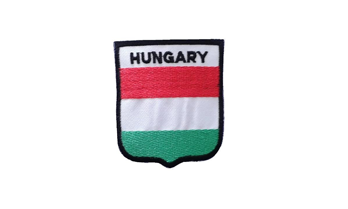 HUNGARY Flag Iron On Patch Applique Motif Country Hungarian Shield Decal 2.8 x 2.4 inches (7 x 6 cm)