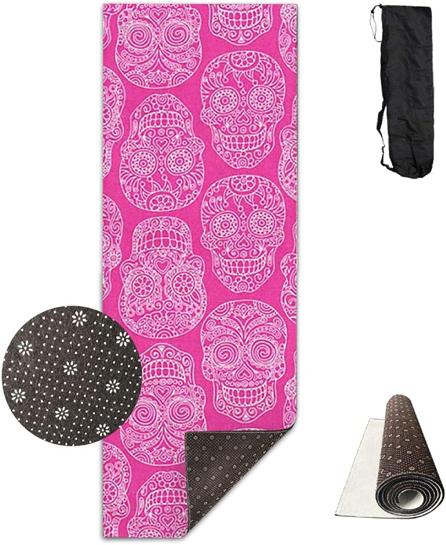 Yoga Mat Non Slip 24  X 71  Exercise Mats Pink Skulls Premium Fitness Pilates Carrying Strap
