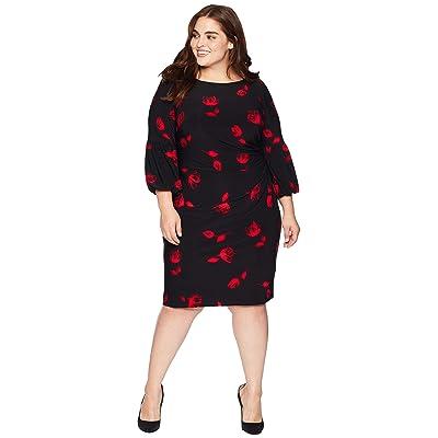LAUREN Ralph Lauren Plus Size Joelle Dress (Black/Red/Multi) Women