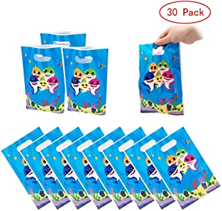 MEISIYU 30 Packs Shark Cute Party Gift Bags, Shark Gift Bags Party Supplies for Kids Cute Shark Themed Party, Birthday Decoration Gift Bags Well for Girls or Boys