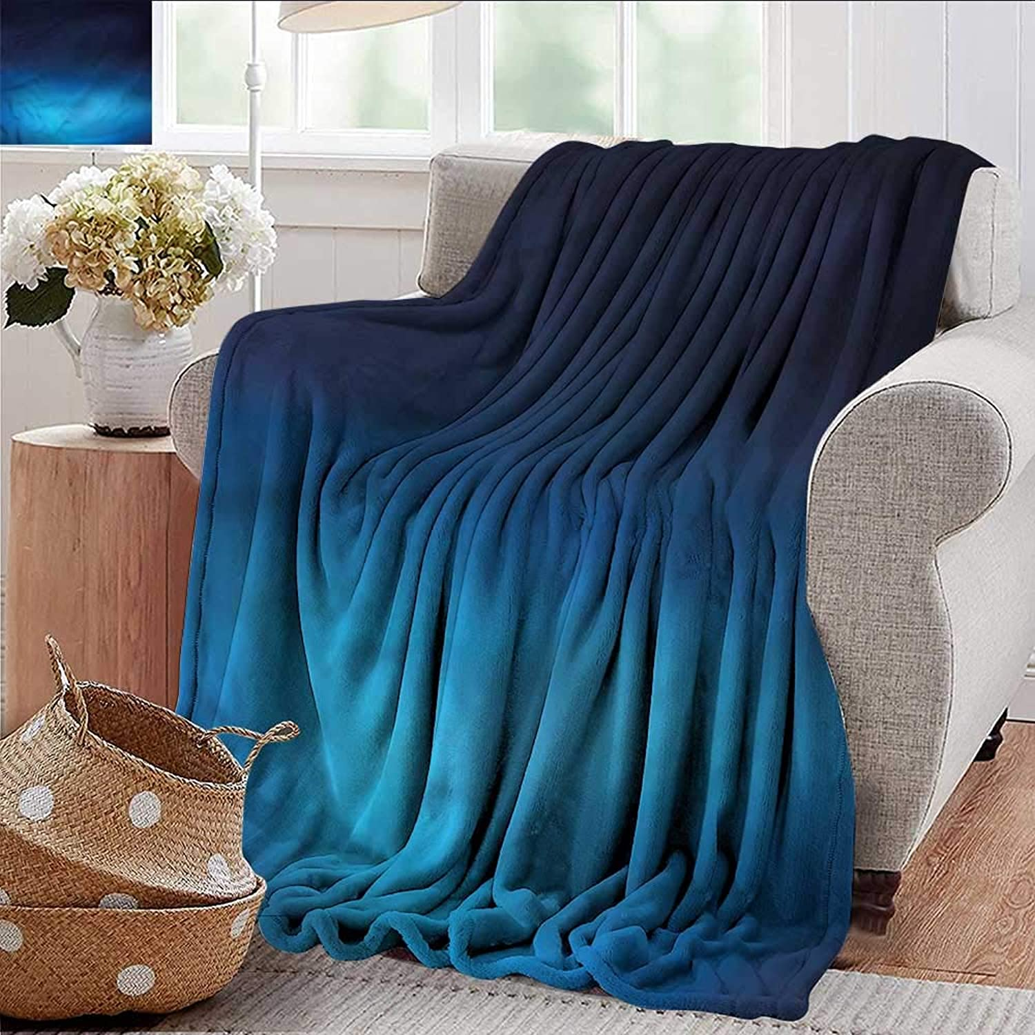 Xaviera Doherty Summer Blanket Navy,bluee Ombre Ocean Inspired Weighted Blanket for Adults Kids, Better Deeper Sleep 35 x60