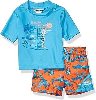 Boys' Hawaiian Quarter Zip Sleeve Rash Guard Swim Short Set