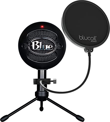Blue Snowball iCE USB Mic for Recording and Streaming on Windows and Mac - Plug and Play Cardioid Condenser Microphone with Adjustable Stand (Black) Bundle with Blucoil Pop Filter Windscreen