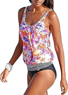 Stevenurr Womens Printed Tankini Swimwear Two Piece Swimsuit Set Bathing Suit