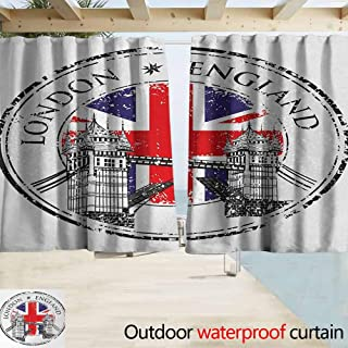 Wlkecgi Curtains for Living Room British London England Grunge Stamp with Flag Nostalgic National Graphic Room Darkening Thermal W63 x L72 Scarlet Navy Blue Light Grey