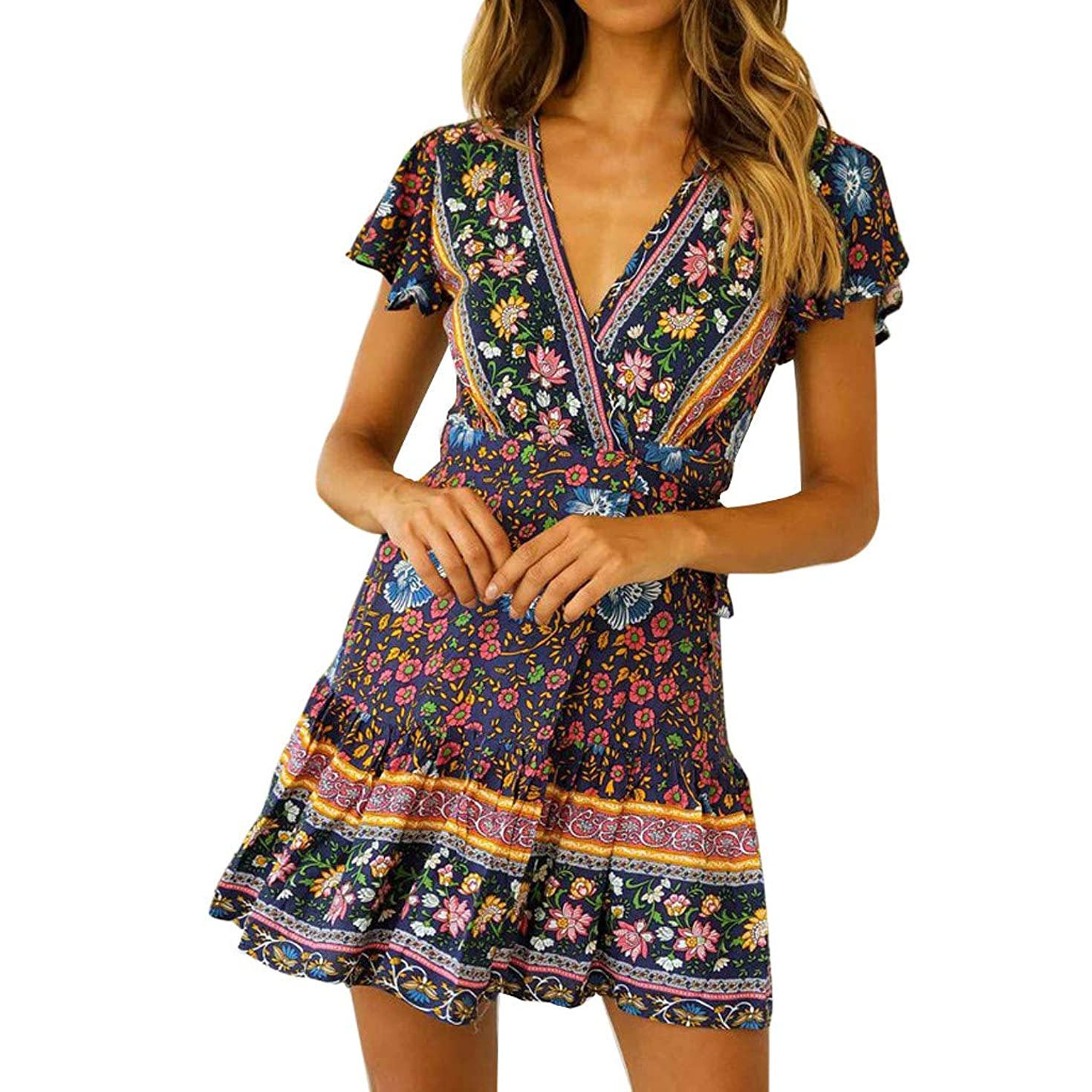 Women's Sexy Casual High Waist Bohemia Print V Neck Short Sleeve Midi Dress Ladies Summer Dress (Navy, M)
