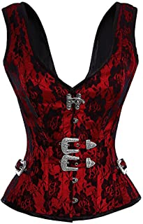 Red Corset Satin Black Net Halloween Costume Party Overbust with Shoulder Straps