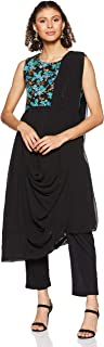 BIBA Women's synthetic asymmetrical hemline Salwar Suit Set