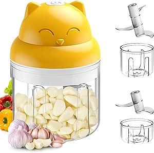 FOMSAF Electric Mini Garlic Chopper, Mini Food Processor, Mini Blender, Mini Chopper, Food Chopper, Vegetable Chopper, Garlic Chopper, Garlic Mincer, Kitchen Gadgets, USB Charging, 2 Bowl(250+100 ml)