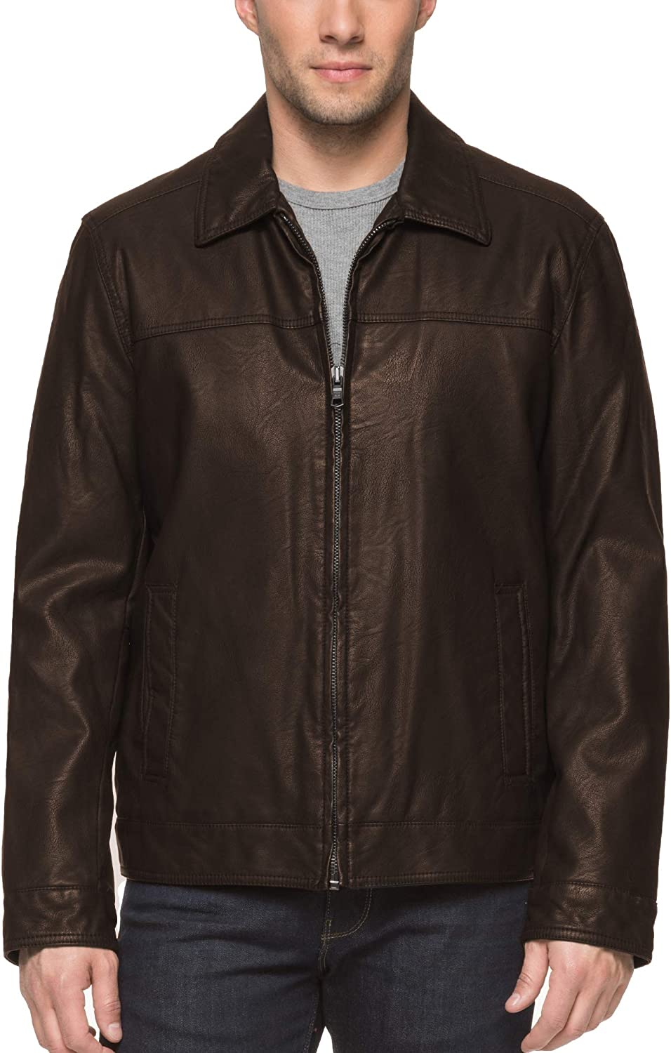Tommy Hilfiger Men's Smooth Lamb Touch Faux Leather Classic Laydown Collar James Dean Jacket