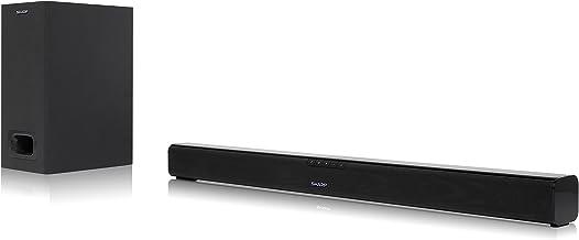 Sharp HT-SBW110 2.1 Slim - Barra de Sonido Cine en casa (Bluetooth, HDMI ARC/CEC, 180 W, Audio óptico Digital, AUX, 80 cm) Color Negro