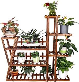 Multipurpose Wooden Plant Flower Stand Rack with Palings Cross Constructure 7 Tiers Garden Planter Shelf Holder Indoor