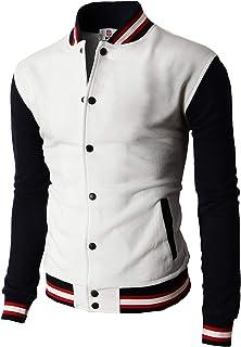 H2H White Mens US Size Medium M Button Down Varsity/Baseball Jacket