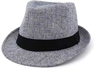 PengCheng Pang Outdoor Travel Male Women Couples Hats Jazz Hats Straw Fashion Sun Hat Fedora Hat Wave Stripes Decorative Shade Straw Hat (Color : 1, Size : 56-58)