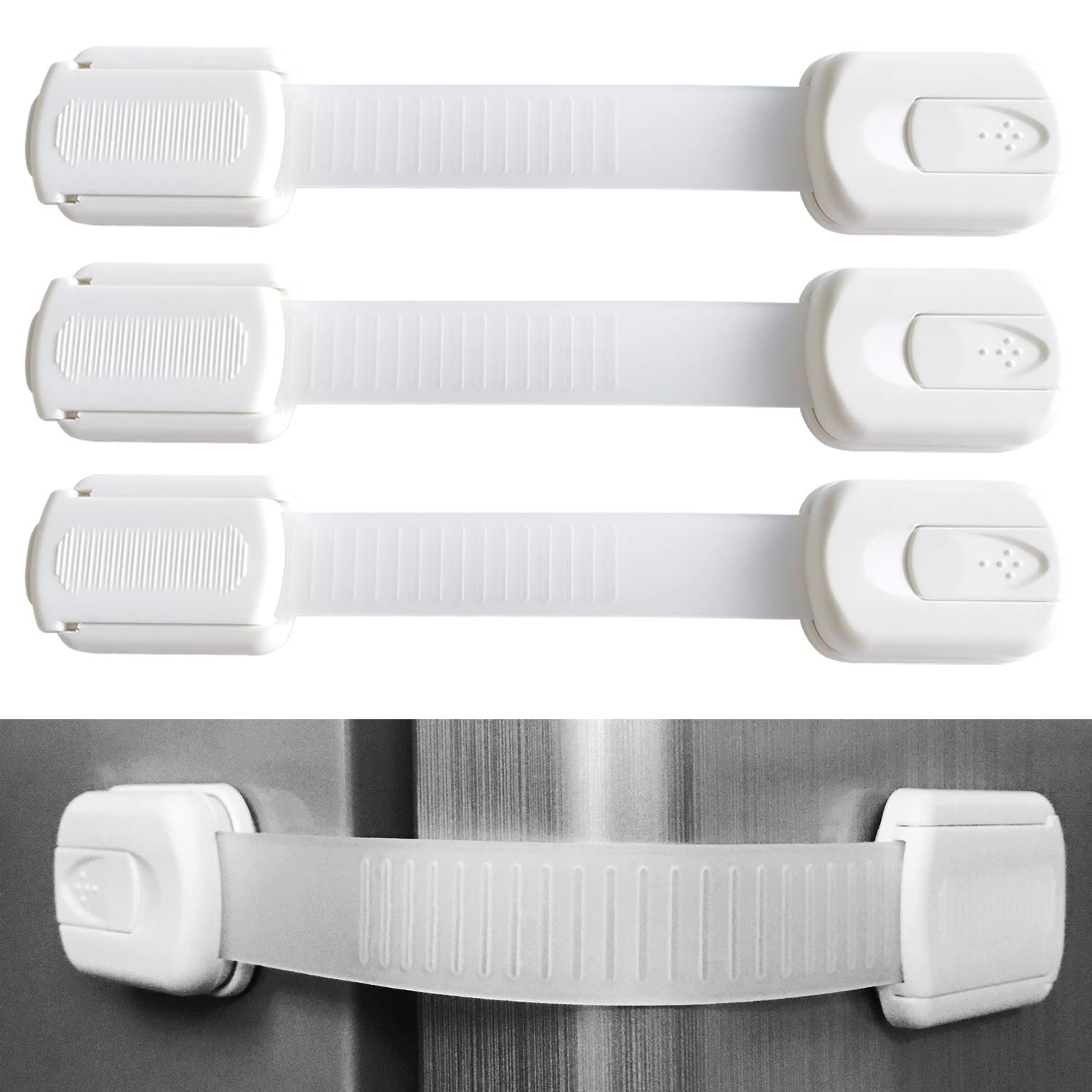10 Pieces Adjustable Child Safety Lock, Baby Proofing Cabinet Lock, No Tools or Drilling, for Cabinets, Drawers, Appliances, Toilet Seat, Refrigerator, Oven, Window etc(7.5X1.4 Inch) White.
