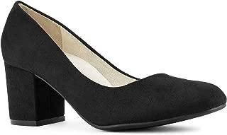 RF ROOM OF FASHION Women's True Wide Width Classic Chunky Heel Dress Pumps - Plus Size Friendly Black SU Size.10