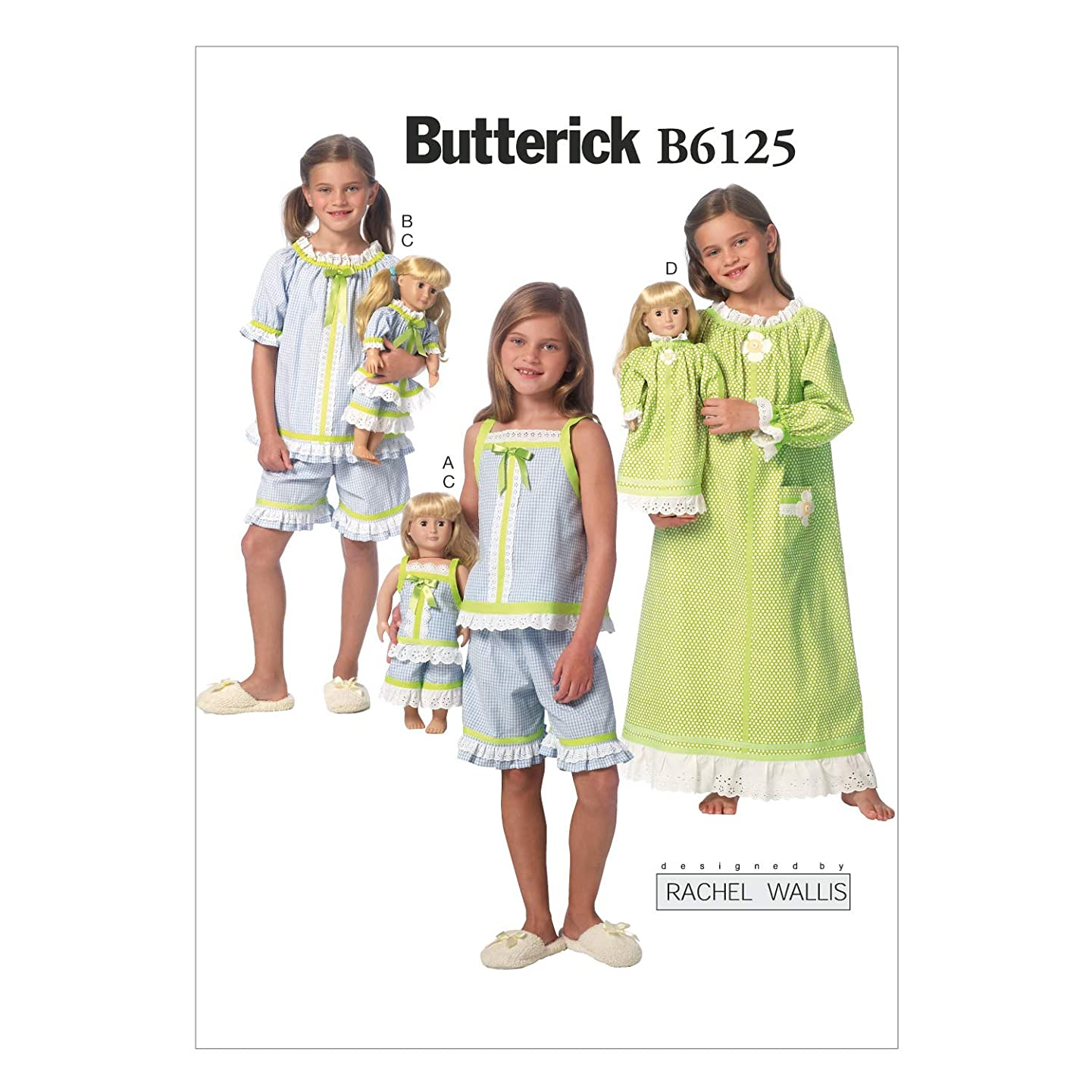 Butterick Patterns B6125 Children's/Girls'/18-Inch Dolls' Top, Gown, and Shorts Sewing Template, Size CDD (2-3-4-5)