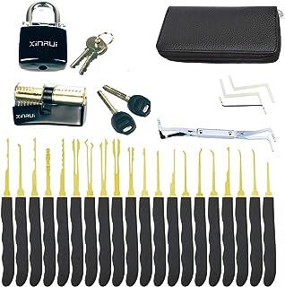 Moli 24pcs Lock Picking Set with Practice Lock,2pcs Transprent Locks with Black Cover Lock Picking Tool for Beginners & Pr...