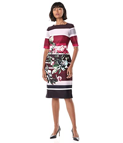 Gabby Skye Elbow Sleeve Square Neck Floral Print Midi Sheath Dress