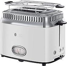 Russell Hobbs Toaster Retro weiss, Countdown-Anzeige im Retrodesign, inkl. Brötchenaufsatz, 6 einstellbare Bräunungsstufen  Auftau-&Aufwärmfunktion, Schnell-Toast-Technologie, 1300W, Vintage 21683-56